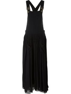 90s Black Linen Overall Maxi Dress Long Bib
