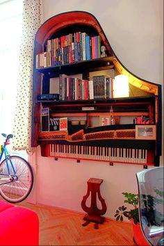 Old Piano Bookshelf idea!