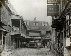 The Tabard Inn, Borough High Street, London. First established in 1307 and destroyed by fire in the 17th Century.