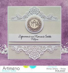 Blog sklepu Artimeno First Communion Cards, First Holy Communion, Christening Invitations, Heartfelt Creations, Pretty Cards, Scrapbook Pages, Scrapbooking, Vintage Cards, Wedding Cards