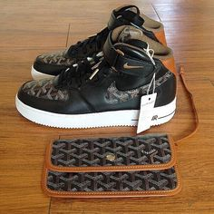 """""""Goyard custom Air Force 1. Follow @iamvitalle for the best fashion posts worldwide! Also promoting brands!"""""""