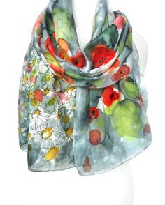 Poppies Scarf. Hand Painted Scarf. Silk Scarf. by TeresaMare, $52.00
