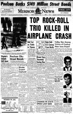 "The song ""American Pie"" by Don McLean was written about this tragic event. For those of you who didn't know, the name of the plane was ""American Pie"". Front page news the day the music died Newspaper Front Pages, Vintage Newspaper, Newspaper Article, American Pie, American History, Ritchie Valens, Front Page News, Rock N Roll, Newspaper Headlines"