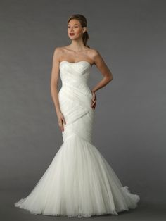 Sweetheart Mermaid Wedding Dress  with Natural Waist in Organza. Bridal Gown Style Number:33035528