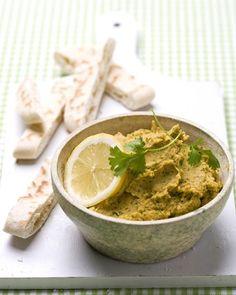 Hummus met geroosterde pompoen en koriander
