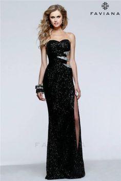 Long Black Sequin Cutout Slit Faviana 7531 Prom Dresses