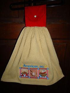 Embroidered Kitchen Towel - American As with a Cotton Topper with Snap Closure by Marshaslilcraftpatch on Etsy