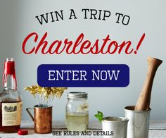 Win a trip to Charleston, SC! Prize includes: round-trip airfare for 2, 3-night hotel stay, $1,000 to indulge in epicurean extras. Enter now: tastingtable.com/ charleston2015