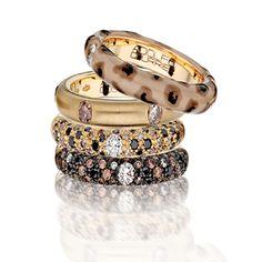 Adolfo Courrier Jungle 18 Karat Yellow Gold, Enamel, Brown, Black, & White Diamond Stack Ring Set