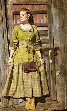 Line dress / Платья ручной работы. Платье Горчица. Alisa Izbusheva. Интернет-магазин Ярмарка Мастеров. Льняное платье, длинное платье, бохо