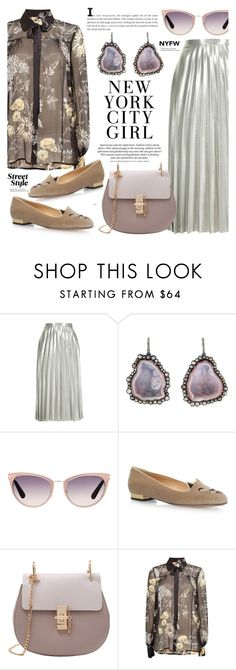 """Street Style- Metallic Skirt.Neck Tie Floral Blouse."" by cly88 ❤ liked on Polyvore featuring Topshop, Kimberly McDonald, Tom Ford, Charlotte Olympia, Baum und Pferdgarten, H&M and Tiffany & Co."
