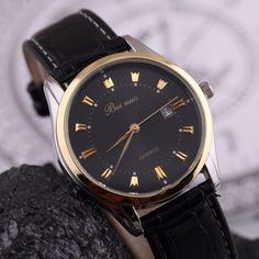 Elegantní pánské hodinky s černým koženým páskem a černým ciferníkem +  POŠTOVNÉ ZDARMA Na tento produkt c2be8955b92