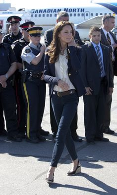 The Royal Visit 2011: Kate Middleton in a Smythe blazer, and J Brand jeans. Photo by Keystone