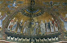 S M Trastevere sheep mosaic, Beneath the feet of Christ, mighty Shepherd King, are lines of courtly sheep, hooves elegantly raised as they process into a green safe place where water flows, symbolizing the river Jordan and our baptism, a refrigerium.