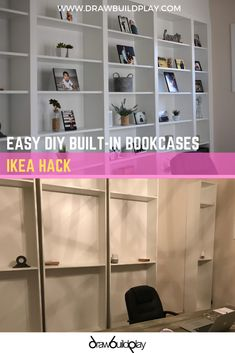 Easy DIY Built In Bookcases using the IKEA Billy Bookcase Hack #shelving #library #office #workfromhome #ikea #billy Diy Built In Shelves, Home Decor Shelves, Built In Bookcase, Bookshelves, Ikea Billy Hack, Ikea Billy Bookcase Hack, Ikea Shelf Hack, Ikea Shelves, Rustic Farmhouse Decor