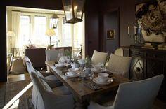Suzie: Westbrook Interiors - Amazing dining room with iron lanterns, reclaimed wood dining ...