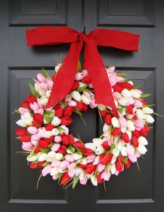 Spring Wreath- Valentines Day Wreath- Tulip Wreath- 18 inch Front Door Wreath- Burlap Ribbon, Custom Colors. $80.00, via Etsy.