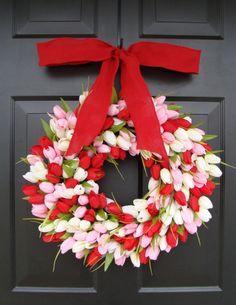 Valentine's Day Wreath, Mini Tulip Wreath with Bow, Valentine's Day Decor- Valentine Decoration