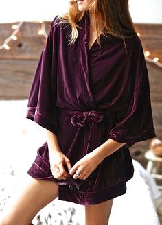NEW Free People IFP purple plum oversize Belted Velvet Robe Jacket  S $168 #IntimatelyFreePeople #velvetrobe