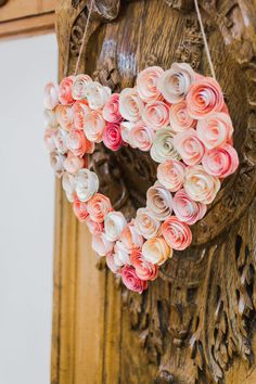 Coral themed Paper rose hanging heart by AngelfaceCrafts on Etsy