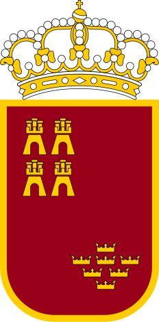 Escudo de Murcia - España. Es una comunidad autónoma uniprovincial española, situada en el sudeste de la Península Ibérica, entre Andalucía y la Comunidad Valenciana, y entre la costa mediterránea y Castilla-La Mancha. Su capital es la ciudad de Murcia, que es sede de los órganos institucionales regionales.