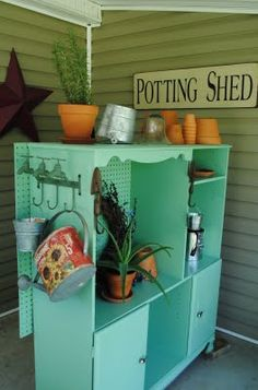 Another version of a garden center from an old #recycled #entertainment #center