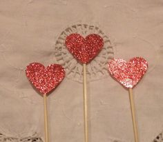 Ruby Red Glitter Heart  Cupcake Cake Toppers  by TypeWright