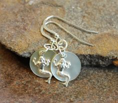Mermaid Earrings Sterling Silver & Mother of Pearl by JensFancy