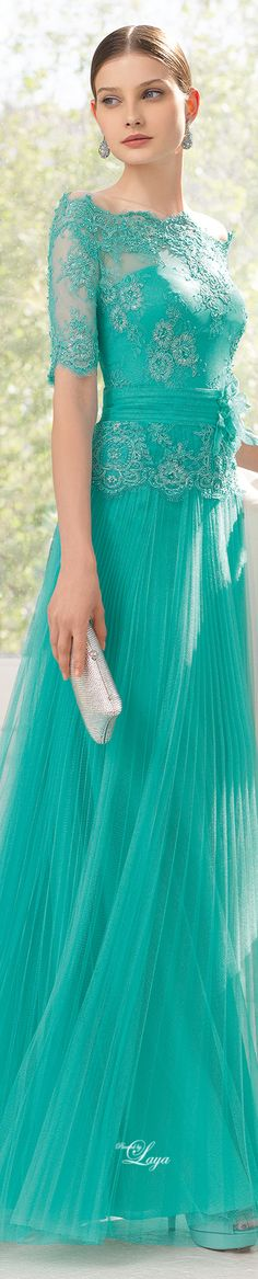 AIRE Barcelona 2015 - gorgeous shade of blue/green Más Elegant Dresses, Pretty Dresses, Bridesmaid Dresses, Prom Dresses, Formal Dresses, Lace Dress, Dress Up, Beauty And Fashion, Groom Dress