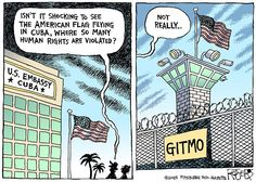 American flag flying in a place where human rights are violated? That would be Gitmo