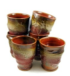 Two Stoneware Clay Tumblers  Handmade Wheel Thrown by PatsPottery,