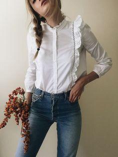 Какая одежда нравится мужчинам Rüschen Bluse, Blusen, Damen Mode, Vintage  Klamotten, Romantische 7b2b582a27