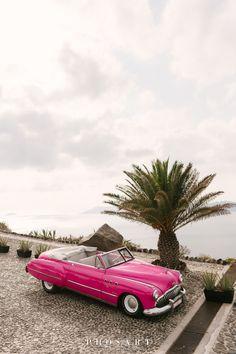 Wedding ideas for your destination wedding in Santorini car Wedding Car, Destination Wedding, Wedding Venues, Santorini Wedding, Greece Wedding, Ciel, Buick, Weddingideas, Vintage Cars