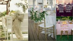 33 Chair Swag & Wedding Chair Decoration Ideas--maybe I could get the petal strings from dollar tree?