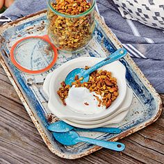 Orange, Pumpkin Seed, and Smoked Almond Granola with Greek Yogurt | CookingLight.com #myplate #fruit #dairy