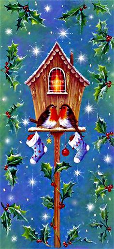 Vintage Christmas Birdhouse and Birds