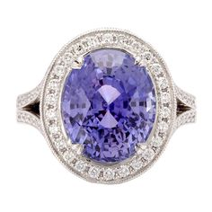 1stdibs | 9.36ct Natural Violet Sapphire & Diamond Ring