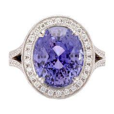 1stdibs   9.36ct Natural Violet Sapphire & Diamond Ring