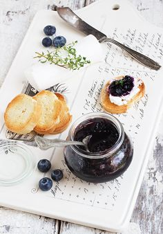 Blueberries with a Bite (Pickled Blueberries) - deliciously different way to enjoy blueberries. Lovely with goat cheese!