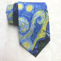 """Van Gogh 'Starry night' themed tie. 100% cotton, Dry Clean Only. Measures approx: 3.5"""" at widest point, 57""""-60"""" Long. If you need a Custom Size, Contact us!"""