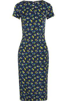 Suno Printed stretch-silk dress   NET-A-PORTER