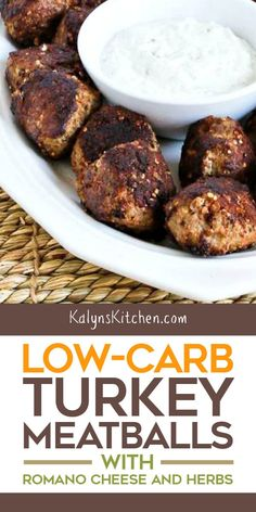 These Low-Carb Turkey Meatballs with Romano Cheese and Herbs are so tasty and they have added nutrition from hemp hearts. Turkey Recipes, Veggie Recipes, Vegetarian Recipes, Chicken Recipes, Dinner Recipes, Veggie Food, Holiday Recipes, Best Low Carb Recipes, Best Gluten Free Recipes