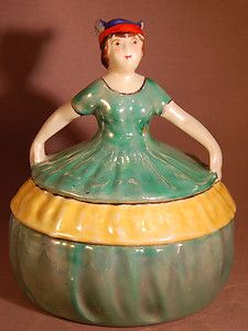 Lovely Vintage Lusterware Girl in Gown Japan Art Deco Figural Covered Powder Jar Bowl Hat, Hat Stands, Half Dolls, Antique Boxes, Bottles And Jars, Japan Art, Hello Dolly, Noritake, Pin Cushions