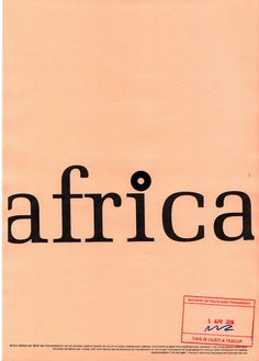 Poster Series, West Africa, Ministry, Typography, Company Logo, Logos, Movie Posters, Letterpress, Letterpress Printing