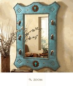 Image detail for -turquoise suede mirror w jeweled a lone star western decor exclusive ...