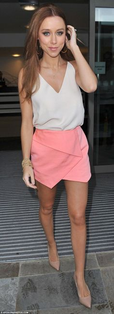 Una Foden.. white cami, Topshop New Ottoman Skort in Pink, and nude heels..... - Celebrity Fashion Trends
