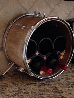 Repurposed drum wine rack by MusicAsArtBySarah on Etsy