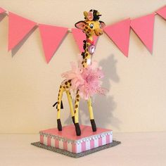 Pink Giraffe Centerpiece/Decoration by marileejanedesigns.etsy.com