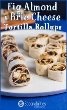 Fig Almond & Brie Cheese Tortilla Roll Ups. Easy 1-2-3 recipe. Appetizer ready in less than 15 minutes. Soft, sweet, crunchy. Made with Fig Almond Spread. Spoonabilities.com via @Spoonabilities