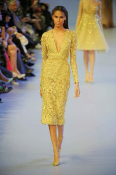 ❤ Amore - Makeup, Beauty, Fashion, Lifestyle and more. Elegant Dresses, Beautiful Dresses, Couture Fashion, Fashion Beauty, Lace Dress, Dress Up, Yellow Fashion, Mellow Yellow, Yellow Dress